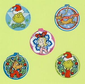 15 How the Grinch Stole Christmas - Large Stickers - Ornament Shaped - Dr. Seuss