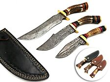 LOUIS SALVATION CUSTOM HANDMADE DAMASCUS HUNTING BOWIE DAGGER KNIFE STAG SET 3PC