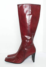 Women's Size 10M NINE WEST Red Leather Knee High Square Toe Zip Up Boots FTOshop