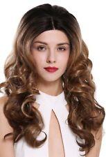 Perruque Femmes lace-front teil-mono long Boucles noir blonde ombre mèches