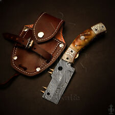 Handmade Damascus Steel Pocket Folding Knife Liner Lock Ram Horn Handle VK6130