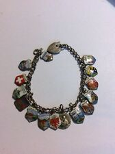 Vintage Heavy Solid Silver Curb Link Charm Bracelet With 15 Charms