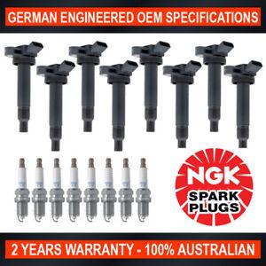 8x NGK Spark Plugs & Swan Ignition Coils for Toyota Landcruiser UZJ100/200