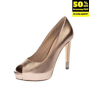 RRP€160 GUESS Leather Court Shoes Size 38 UK 5 US 7.5 Metallic Effect Metal Logo