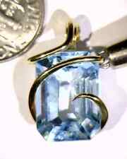 14.65ct Faceted Blue Topaz Gem in 14kt Gold Art Wire Wrap Pendant