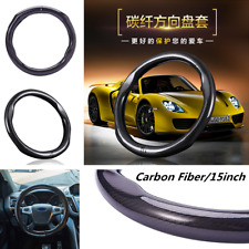 Universal Black 38cm Carbon Fiber Raised Steering Wheel Cover for Auto-Car-Truck