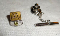 MCDONALDS HAMBURGERS Gold 14K Solid Service Pin With Yellow Stone