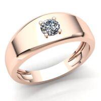 Natural 0.5ct Round Cut Diamond Mens Solitaire Anniversary Wedding Band 10K Gold