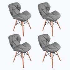 4 x Chaise en PU Cuir avec Pieds en Bois  Salle à Manger/Cuisine/Bar/Bureau Gris