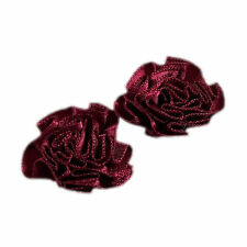 Satin Ribbon Rosettes Flowers Roses 3cm Wide Burgundy 6