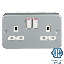 Metal Clad 13 Amp Double 2 Gang Switched Socket Twin Electrical Wall Plug Socket
