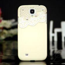 Samsung Galaxy S4 Hard Case Handy Schutz Hülle Etui Tasche Steine Creme 3D