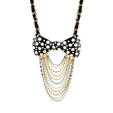 BETSEY JOHNSON Blk White Polka Dot L HUGE BOW Top Multi Chain Statement NECKLACE