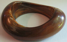 WILD VINTAGE BAKELITE ERA MARBLED TOFFEE CURVY BOLD BULBOUS BANGLE BRACELET