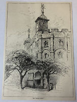 1885 magazine engraving~ TOWER OF LONDON The White Tower