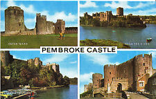 Wales Postcard - Views of Pembroke Castle - From The Quay - Outer Ward    XX416