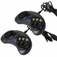 2 X 6 Button Game Controller for SEGA Genesis Black *USA*