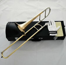Quality New Gold Eb Children Alto Trombone Horn With Leather Case Mouthpiece