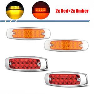 12 LED Sealed Side Marker Clearance Light Lamp 2 Red 2 Amber Fish Shape Trailer