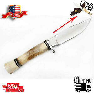 Hand Forged Steel Skinner Hunting Knife Stag/Antler Horn Handle with Sheath