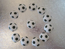 12 Edible Black & White Football Cake Topper Decorations
