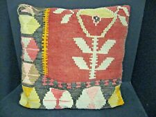 Vintage Hand Woven KILIM Southwestern WOOL RUG Throw Pillow Cover Made in Turkey