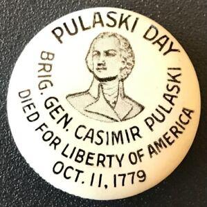 Vtg Polish BRIG. GENERAL CASIMIR PULASKI 1929 Pin-Back Button REVOLUTIONARY WAR