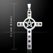 Pentacle Mixed Gemstone Cross .925 Sterling Silver Pendant by Peter Stone