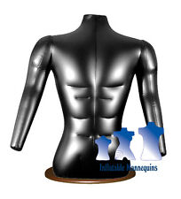 Inflatable Male Torso With Arms, Black And Wood Table Top Stand