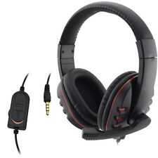 Wired 3.5mm Headset Headphone Earphone Music Microphone For PS4 Game PC Chat LL