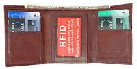 Burgundy RFID Blocking Men's Leather Trifold Thin Wallet U.S Seller