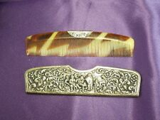 Celluloid Comb with Silver Plated Cover Signed HH H. Hooijkaas Relief Art