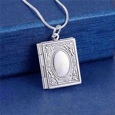925 Silver Book Photo Locket Pendant Chain Necklace *UK*
