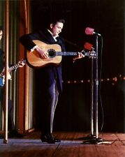 On Stage JOHNNY CASH 8x10 Vintage Candid Photo COUNTRY MUSIC LEGEND Man in Black