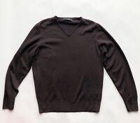 ZARA MAN Brown 100% Wool Smart Casual Vneck Jumper Sweater M