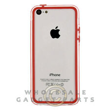 Apple iPhone 5C/i5C/Lite Protective Bumper Red/Transparent Clear Case Cover