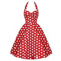 EG_ Women's Vintage Summer Dots Design Skirt Robe Rockabilly Halter Ball Dress S