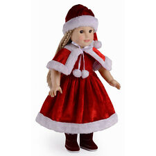 Christmas Clothes Doll's Dress Hat Shawl Set for 18 Inch Doll Toy Gift Tool