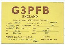 CHESHIRE - NORTHWICH, 1962 QSL Radio Transmission Confirmation Card  G3PFB
