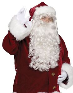 Santa Wig and Beard Super Deluxe Adult Claus Full Curly Ringlets White Christmas