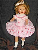 "$10.00 OFF-- SHIRLEY TEMPLE 12"". DOLL ORIGINAL 1950'S IDEAL IN  PINK ROSES DRESS"