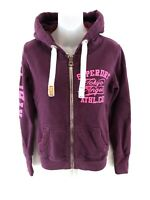 SUPERDRY Womens Hoodie Jacket S Small Purple Cotton & Polyester