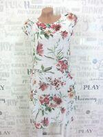 NEU ITALY Sommerkleid Hängerchen Tunika Kleid LEINEN-Optik 38 40 42 Weiß E318
