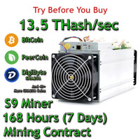 Bitmain Antminer S9 13.5 THash/sec Guaranteed One Week Mining Contract SHA256