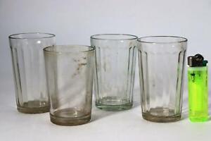 Japanese Antique glass cup 4 set Handmade Taisho kiriko Korikopp GO10