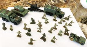 70 Airfix 1/72 WWII American Infantry +Tank + Artillery Piece + 2 trucks Jeep