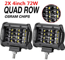 Pair 4inch 72W Quad Row Led Work Light Offroad SUV Truck CREE Flood Fog Lights