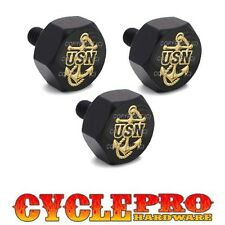 Black Billet Hex Windshield Bolt Kit 93-13 For Harley - GOLD USN NAVY ANCHOR