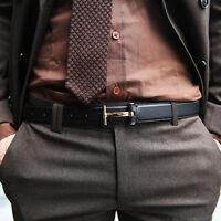 ByTheR Men's Solid Black Premium Leather Classic T Shape Buckle Fashion Belt