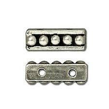 ANTIQUED SILVER PEWTER BEADED DESIGN 2 HOLE SPACER BEAD 4X10MM BAR 4 BEADS PB50
